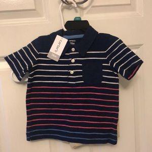 Carter's Boys 2 Piece Blue Striped Polo & Shorts